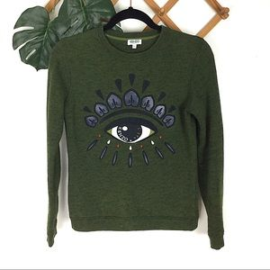 Kenzo Paris | Green Eye Graphic Crewneck Sweater
